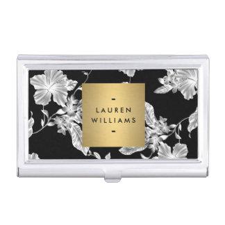 Elegant Black Floral Pattern 3 with Gold Name Logo Business Card Holder