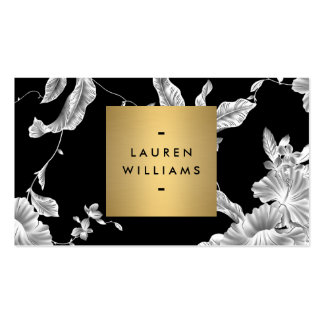Elegant Black Floral Pattern 3 with Gold Name Logo Double-Sided Standard Business Cards (Pack Of 100)