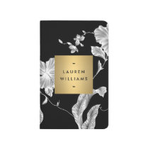 Elegant Black Floral Pattern 3 with Gold Name Logo Journal