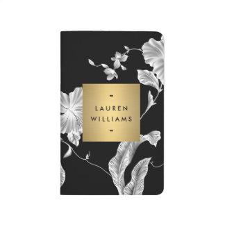 Elegant Black Floral Pattern 3 with Gold Name Logo Journal