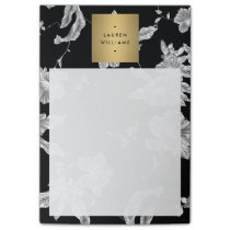Elegant Black Floral Pattern 3 with Gold Name Logo Post-it Notes