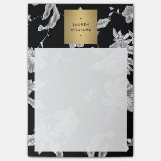 Elegant Black Floral Pattern 3 with Gold Name Logo Post-it Notes