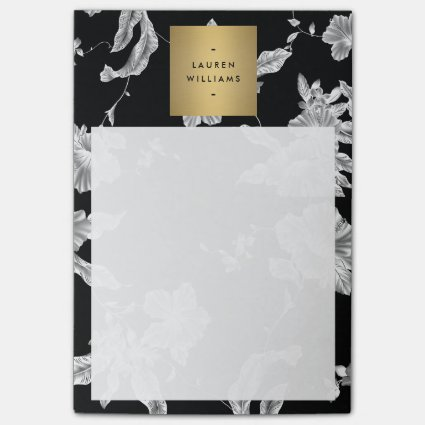 Elegant Black Floral Pattern 3 with Gold Name Logo Post-it® Notes