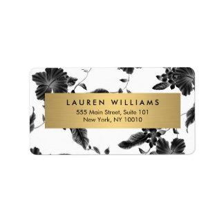 Elegant Black Floral Pattern 4 Address Label