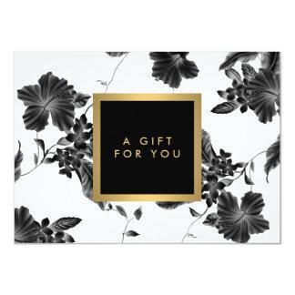 Elegant Black Floral Pattern 4 Gift Certificate 4.5x6.25 Paper Invitation Card
