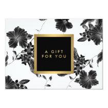 Elegant Black Floral Pattern 4 Gift Certificate Card