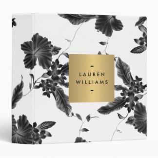Elegant Black Floral Pattern 4 Personalized Binder
