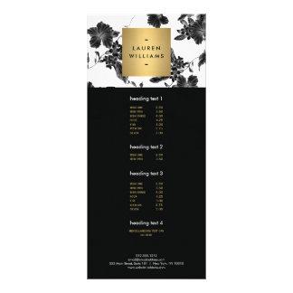 Elegant Black Floral Pattern 4 Rack Card