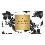Elegant Black Floral Pattern 4 with Gold Name Logo Double-Sided Standard Business Cards (Pack Of 100)