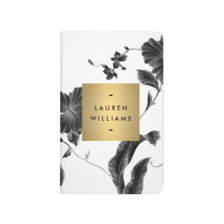 Elegant Black Floral Pattern 4 with Gold Name Logo Journal