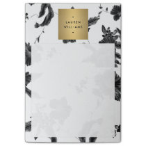 Elegant Black Floral Pattern 4 with Gold Name Logo Post-it Notes