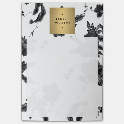 Elegant Black Floral Pattern 4 with Gold Name Logo Post-it® Notes