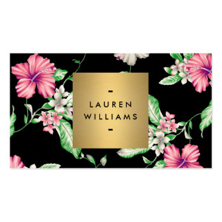 Elegant Black Floral Pattern 5 with Gold Name Logo Double-Sided Standard Business Cards (Pack Of 100)