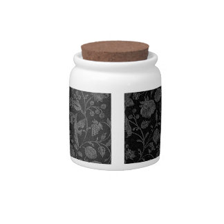 Elegant black floral pattern candy dish