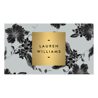 Elegant Black Floral Pattern on Slate Gray Double-Sided Standard Business Cards (Pack Of 100)