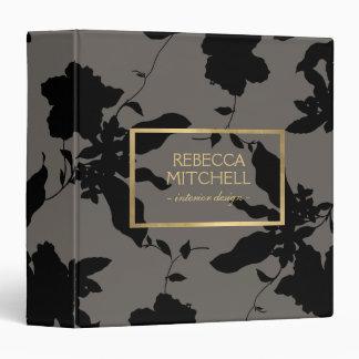 Elegant Black Floral Pattern Personalized Binder