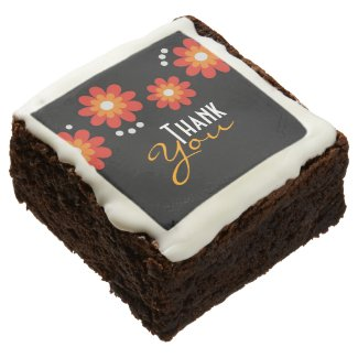 Elegant Black Floral Pattern Thank You Brownie