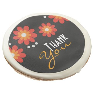 Elegant Black Floral Pattern Thank You Sugar Cookie
