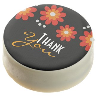 Elegant Black Floral Pattern Thank You Chocolate Dipped Oreo
