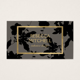 Elegant Black Floral Pattern with Gold Accents Business Card