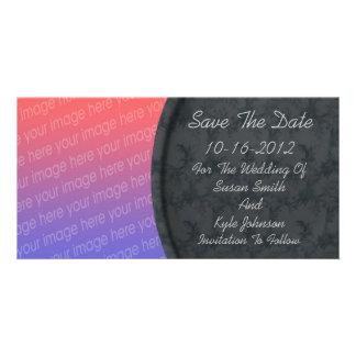 Elegant Black Floral Photo Wedding Save The Date Card
