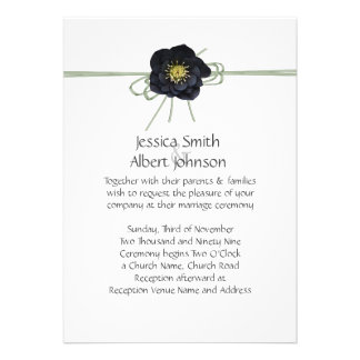 Elegant Black Floral Ribbon Wedding Invite