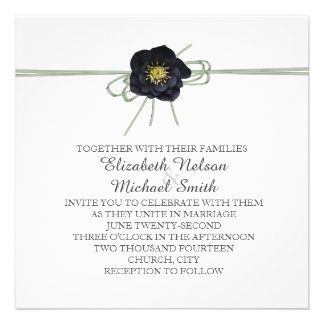 Elegant Black Floral Ribbon Wedding Invite