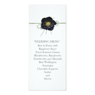 Elegant Black Floral Ribbon Wedding Menu Announcements