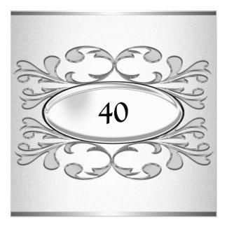 Elegant Black Floral Silver 40th Birthday Party Invitations