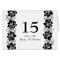 Elegant black  floral table seating card
