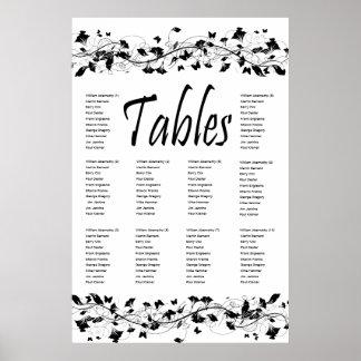 Elegant Black Floral Vines 10 Table Seating Chart