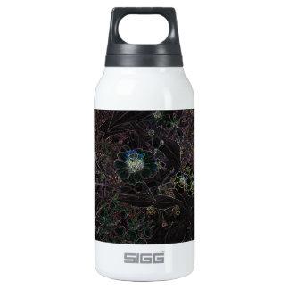 Elegant black flowers & wild herbs design, unique 10 oz insulated SIGG thermos water bottle