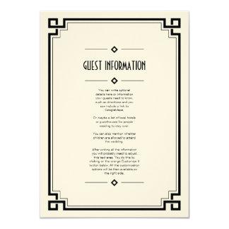 Elegant Black Frame Art Deco Wedding Insert Card Invitation