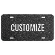 Elegant Black Glitter Pattern License Plate at Zazzle