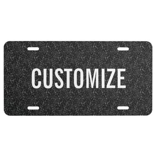 Elegant Black Glitter Pattern License Plate
