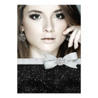 Elegant Black Glitter Photo Graduation Personalized Invitation