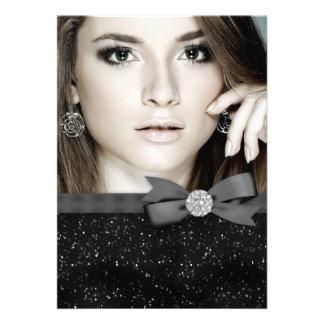 Elegant Black Glitter Photo Graduation Custom Invitation