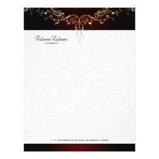 Elegant Black & God 2 Vintage Lace Frame Personalized Letterhead