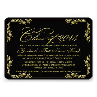 Elegant Black Gold 2014 Classy Graduation Invite