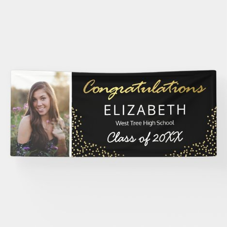 Elegant Black Gold 2020 Graduation Photo Banner