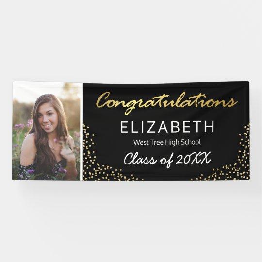 Elegant Black Gold 2021 Graduation Photo Banner