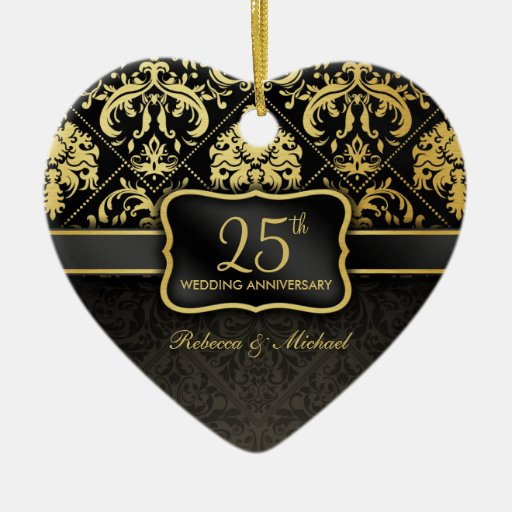 25th Wedding Anniversary Gift Experiences : Elegant Black & Gold 25th Wedding Anniversary Ceramic Ornament ...