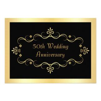 Elegant Black & Gold 50th Anniversary Invitations