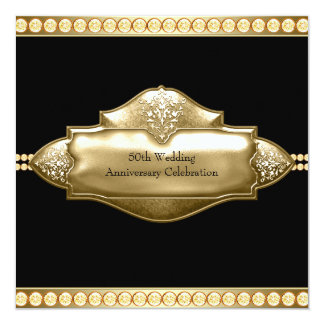 Elegant Black Gold 50th Wedding Anniversary Card