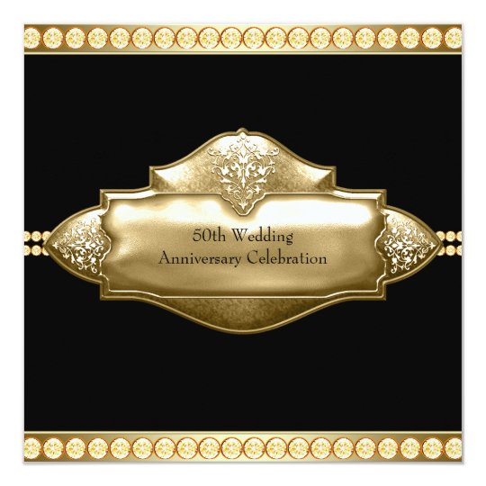 Elegant Black Gold 50th Wedding Anniversary Card