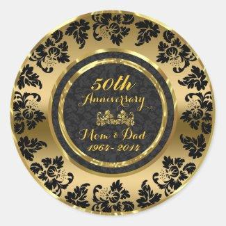Elegant Black & Gold 50th Wedding Anniversary