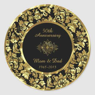 Elegant Black & Gold 50th Wedding Anniversary