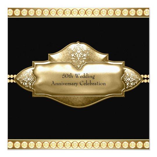 elegant black gold 50th wedding anniversary invitation