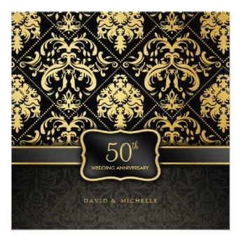 Elegant Black & Gold 50th Wedding Anniversary Custom Announcement