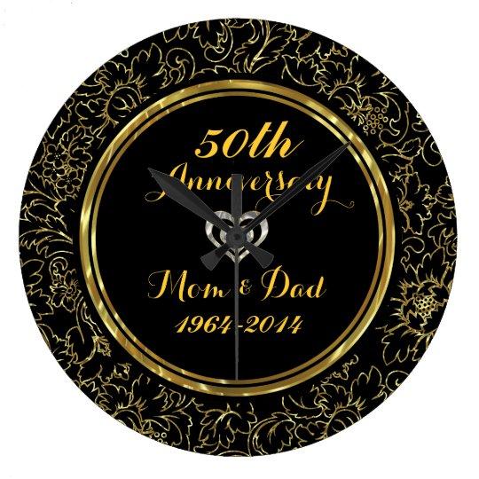 Elegant Black Amp Gold 50th Wedding Anniversary Large Clock
